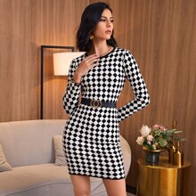 Checker Bodycon Sweater Dress Without Belt
