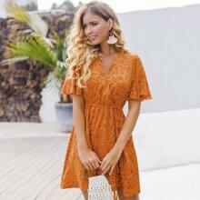 Kleid mit Bluemchen Muster, V Kragen und Guertel