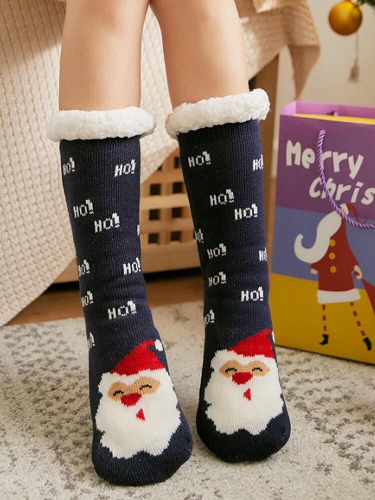 Women Christmas Santa Claus Elk Sock Plus Velvet Sleep Socks Casual Floor Socks