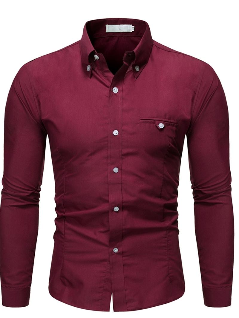 Ericdress Lapel Button Casual Men's Slim Shirt