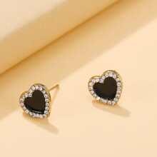 Rhinestone Heart Decor Stud Earrings