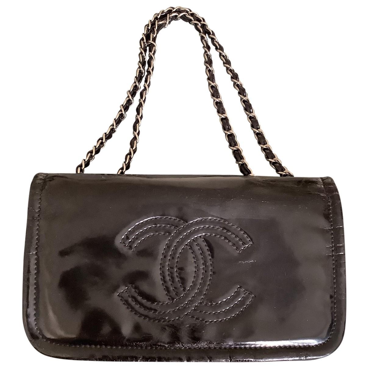 Chanel - Pochette   pour femme en cuir verni - noir