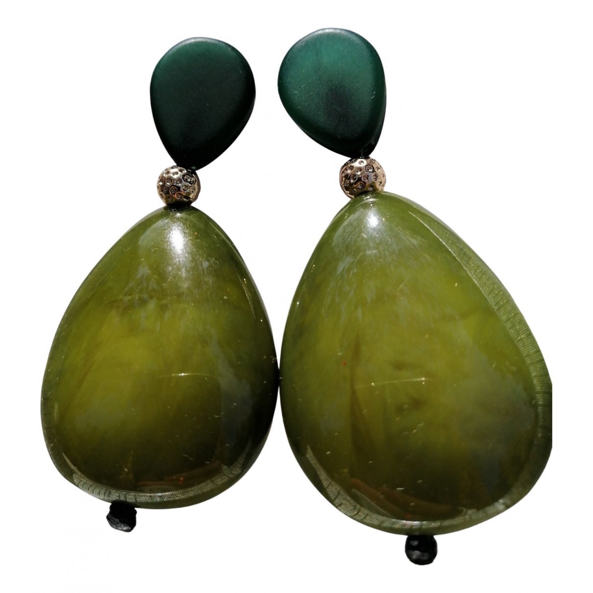 Non Signé / Unsigned Agate Green Metal Earrings for Women N
