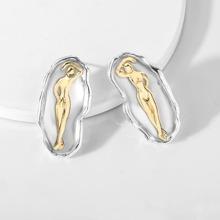 Two Tone Figure Design Stud Earrings