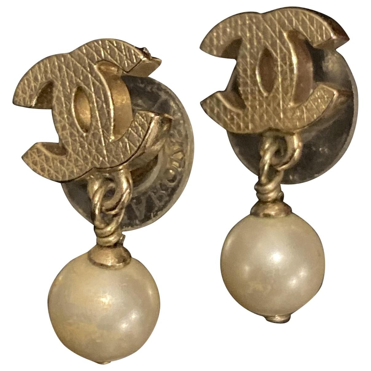 Chanel - Boucles doreilles CC pour femme en perle - dore