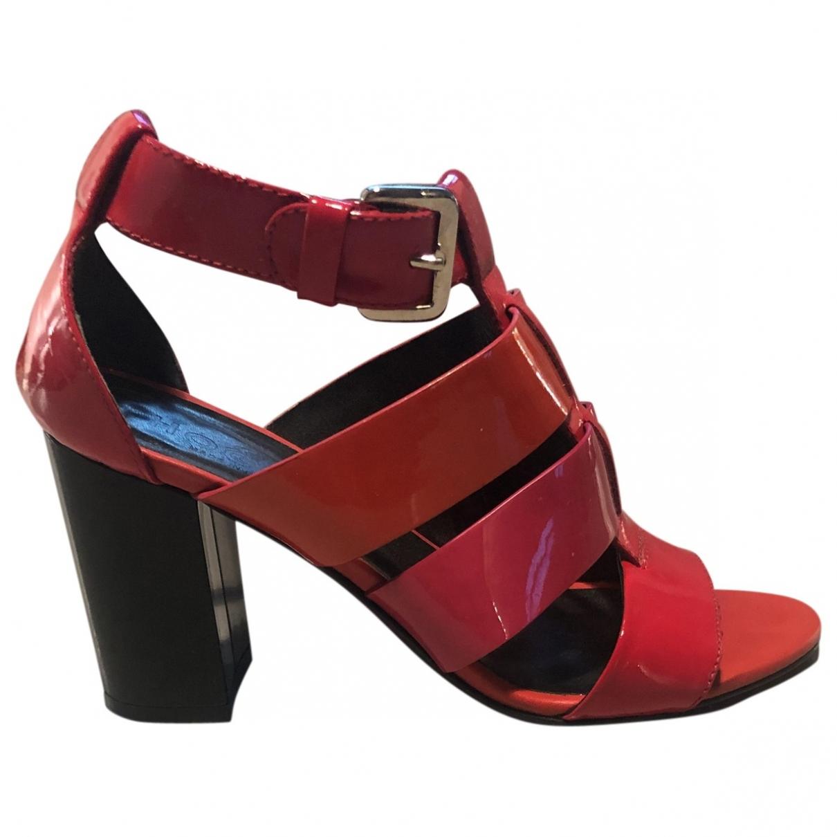 Hogan - Sandales   pour femme en cuir - rouge