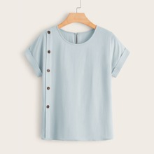 Button Side Rolled Sleeve Blouse