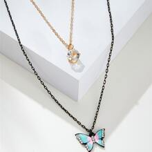 Rhinestone Decor Butterfly Charm Layered Necklace