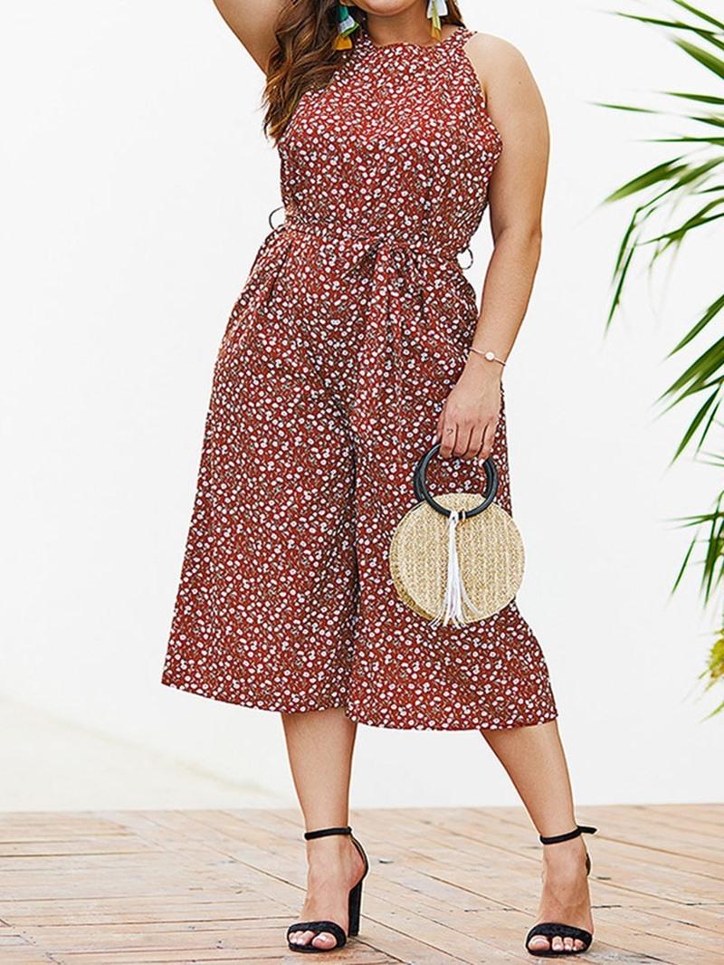 Ericdress Plus Size Print Polka Dots Wide Legs Loose Jumpsuit