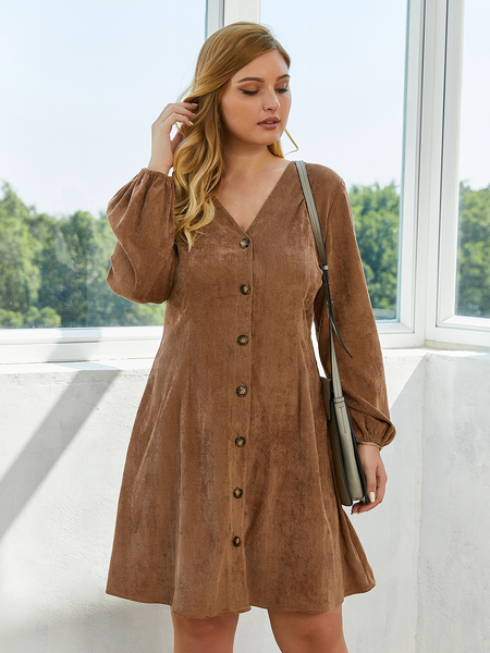Yoins Plus Size Brown Button Design Long Sleeves Dress