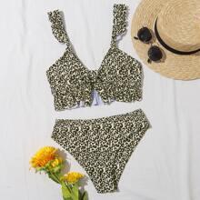 Leopard Knot Front Ruffle Bikini Swimsuit