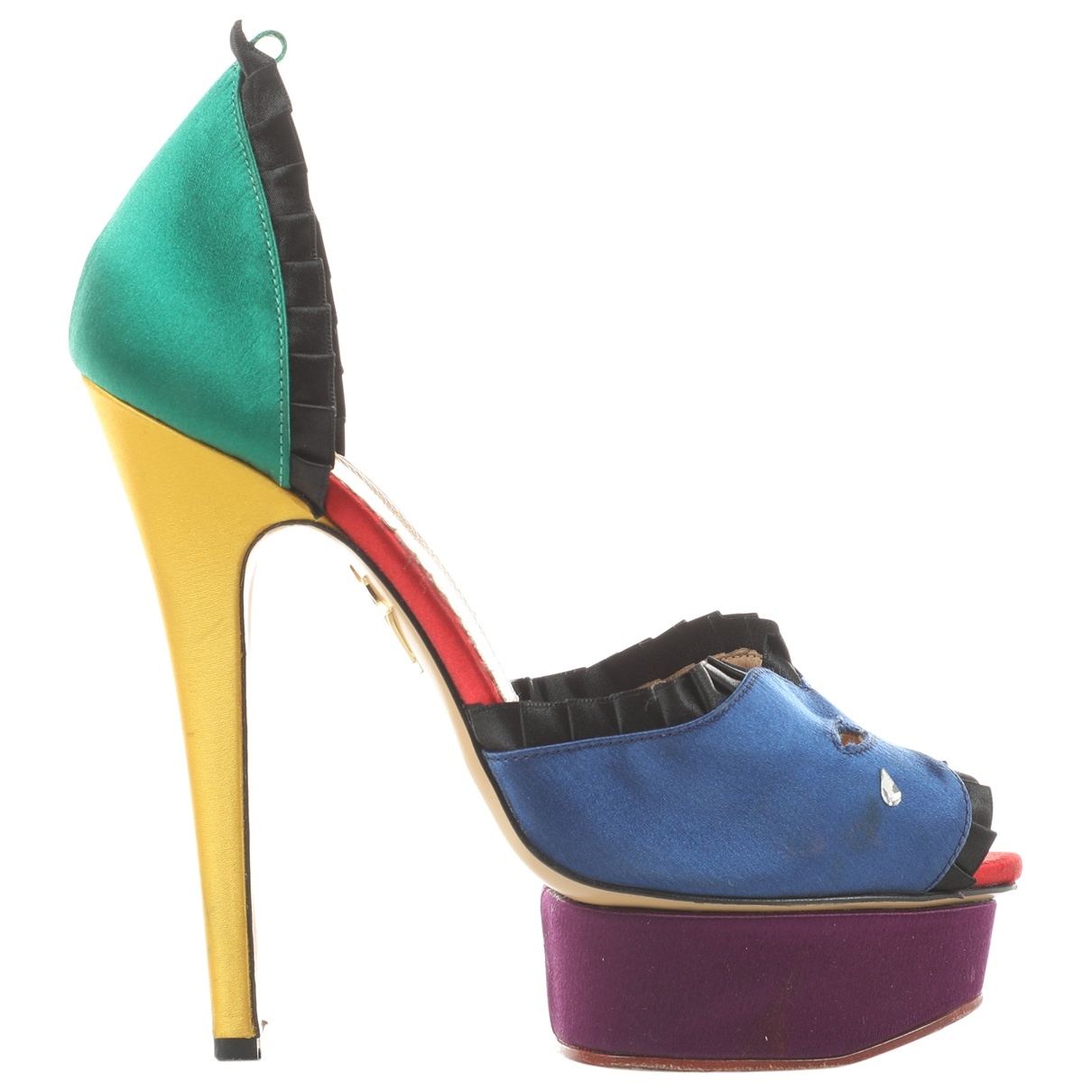 Charlotte Olympia Dolly Pumps in  Bunt Seide