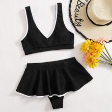 Contrast Binding Ruffle Hem Bikini Swimsuit