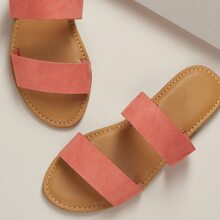 Twin Bands Open Toe Flat Slide Sandals