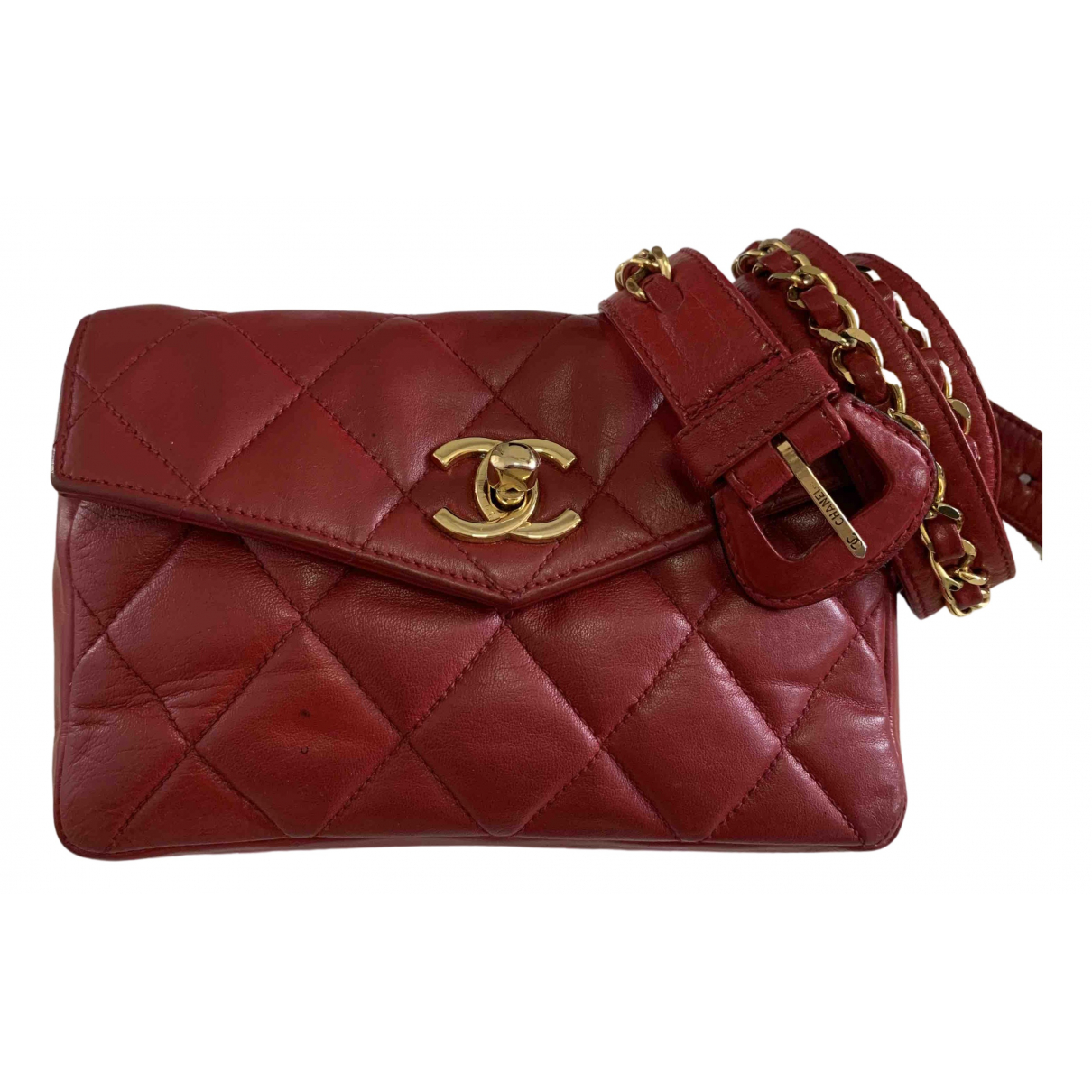 Chanel Timeless/Classique Clutch in  Rot Leder