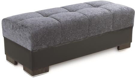 Down Town Collection DOWN TOWN OTTOMAN GRAY FABRIC 26-370 Ottoman with Block Feet  Tufted Detailing and Chenille Fabric Upholstery in