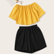 Grosse Grossen - Schulterfreie Bluse & Shorts mit breitem Beinschnitt