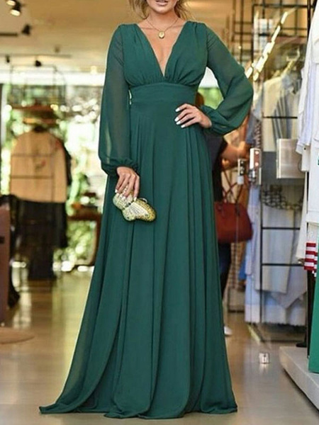 Milanoo Bridesmaid Dress A Line V Neck Floor Length Long Sleeve Backless Chiffon Wedding Party Dress