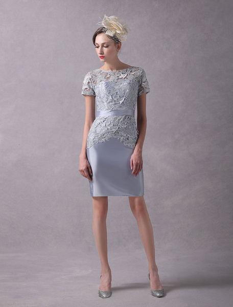 Milanoo Wedding Guest Dresses Sheath Short Sleeve Mother Dress Light Grey Sash Lace Taffeta Wedding Party Dresses