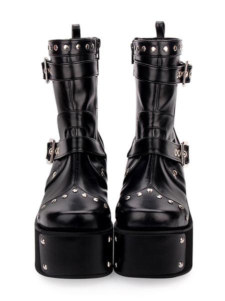 Milanoo Punk Lolita Boots Rivet Metallic Buckle Platform Black Lolita Shoes
