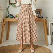Plaid Corset Paperbag Waist Skirt