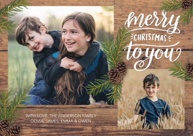 Christmas Photo Cards 5x7 Cards, Premium Cardstock 120lb with Scalloped Corners, Card & Stationery -Christmas Rustic Pine Branches