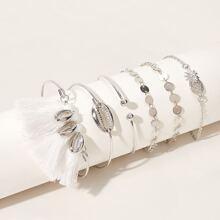 Shell & Tassel Decor Bracelet 6pcs
