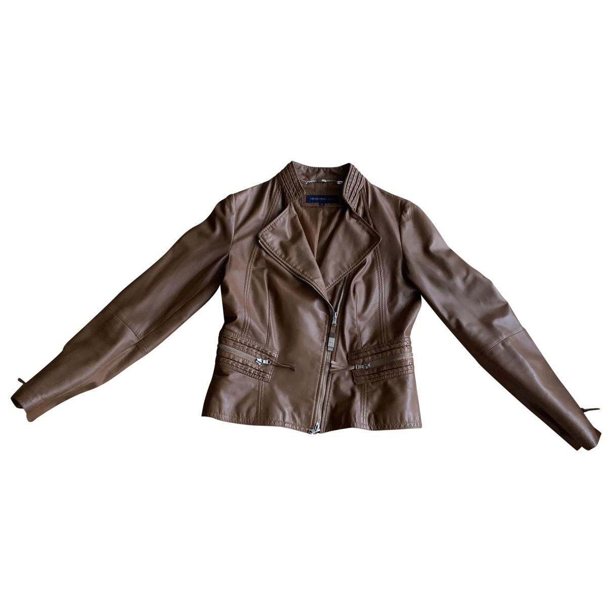 Trussardi - Veste   pour femme en cuir - marron