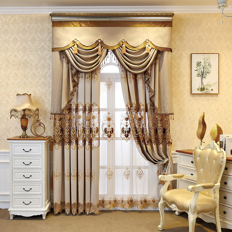 Elegant Luxury Embroidered Champagne Sheer Curtains for Living Room Custom 2 Panels Breathable Drapes No Pilling No Fading No off-lining