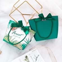1pc Leaf Print Paper Gift Bag