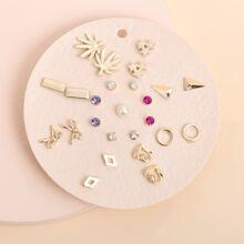 25pcs Rhinestone & Faux Pearl Decor Earrings