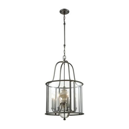 32312/8 Neo Classica 8-Light Chandelier in Aged Black Nickel with Weathered Birch and Clear