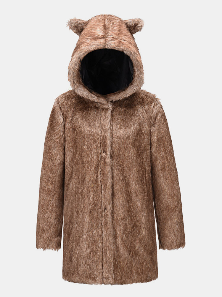 Faux Fur Solid Color Ears Hooded Long Sleeve Coat For Women