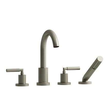 SY12LBN 4-Piece Deck Mount Tub Filler with Lever Handles and Hand Shower  in Brushed