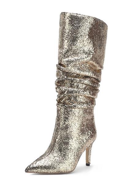Milanoo Botas hasta la rodilla de tela con lentejuelas plateadas con punta puntiaguda Tacon de aguja Botas hasta la rodilla para mujer