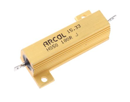 Arcol HS50 Series Aluminium Housed Axial Wire Wound Panel Mount Resistor, 180Ω ±5% 50W