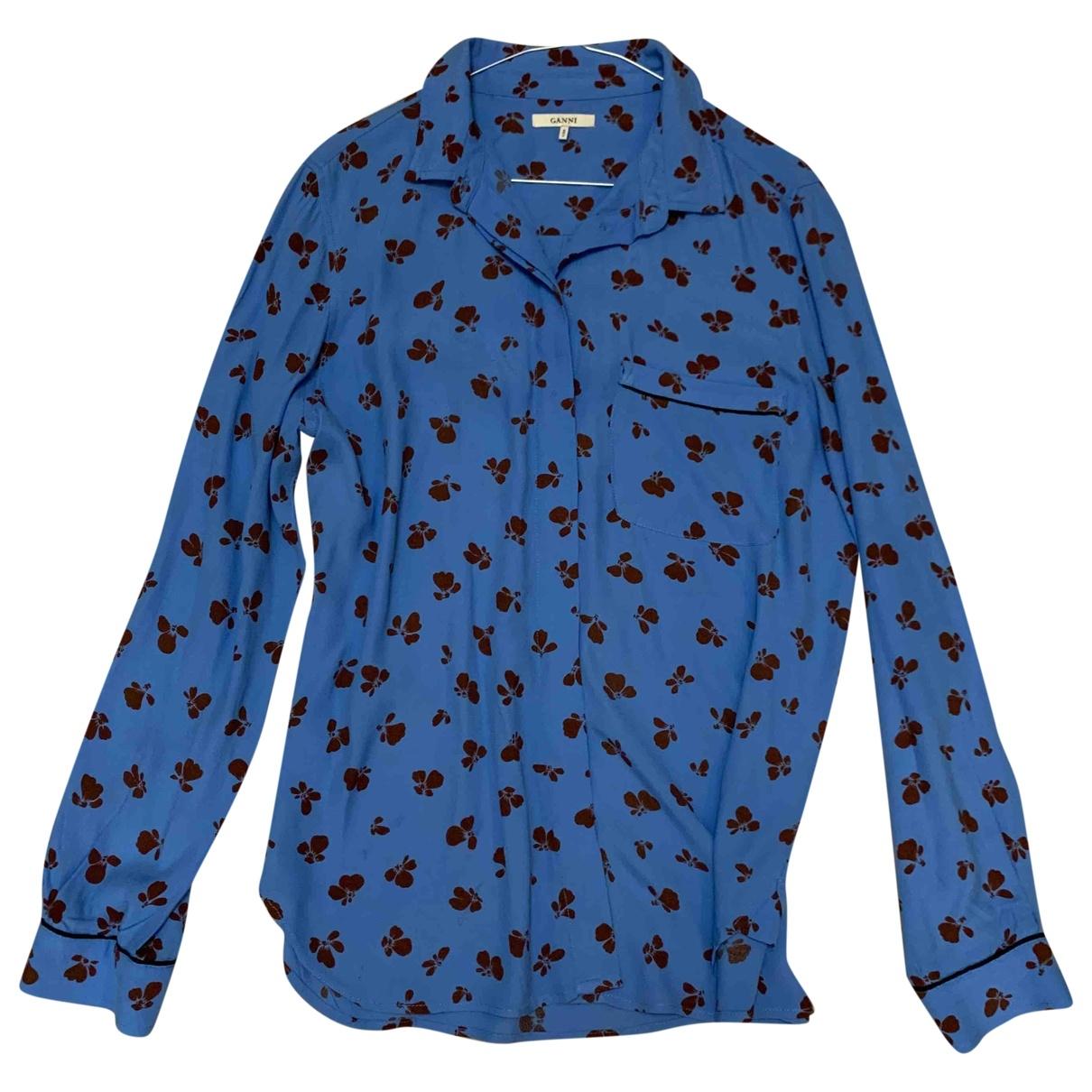 Ganni - Top   pour femme - bleu