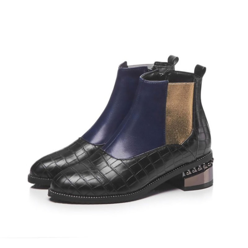Ericdress Side Zipper Color Block Round Toe Cotton Boots