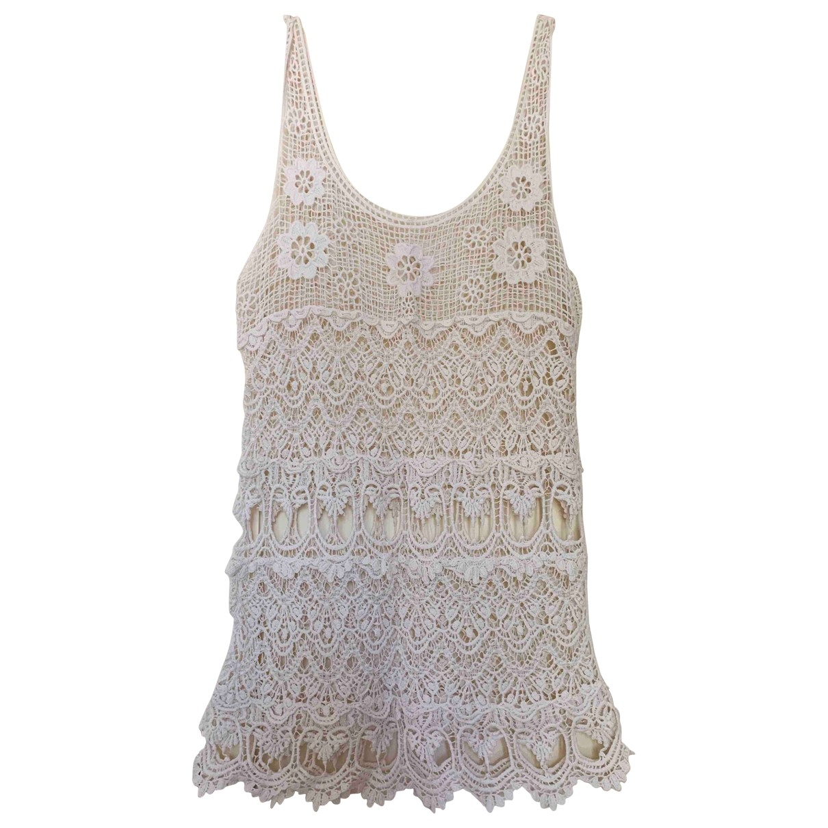 Non Signé / Unsigned Hippie Chic Beige Cotton dress for Women M International