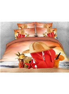 Pineapple Starfish Beach Shoes Printed 4-Piece 3D Bedding Sets/Duvet Covers