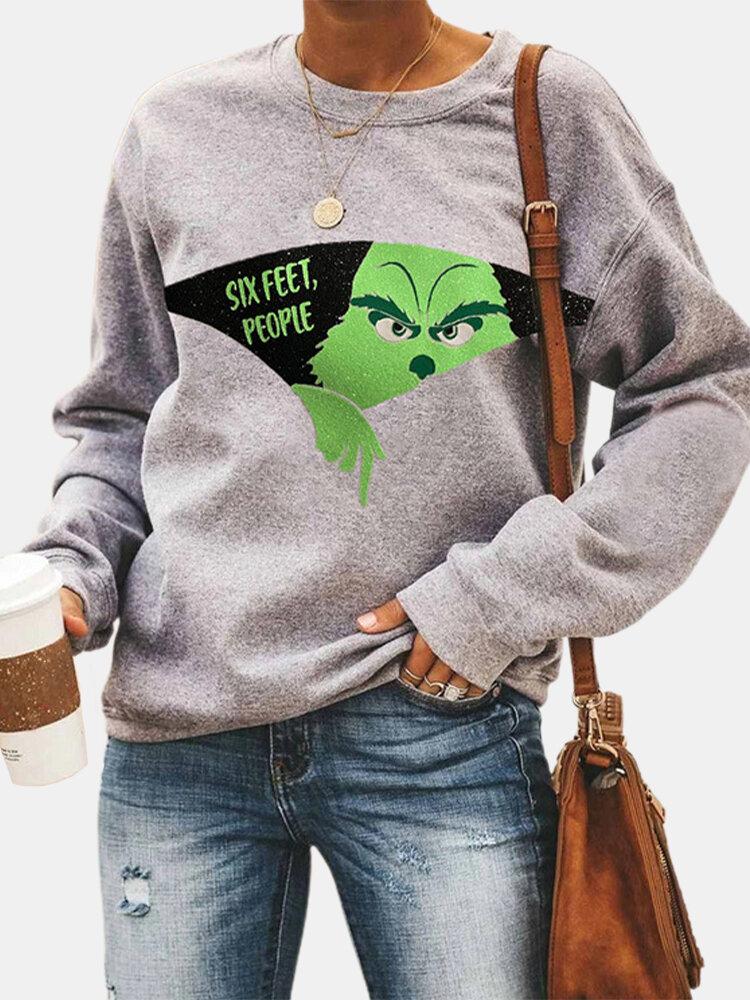 Cartoon Print O-neck Long Sleeve Plus Size Casual Sweatshirt