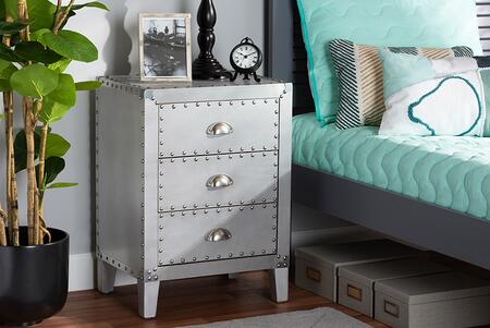 Claude Collection LD18B056-SILVER-NS French Industrial Silver Metal 3-Drawer