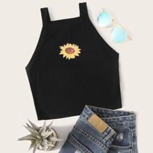 Plus Sunflower Print Cami Top