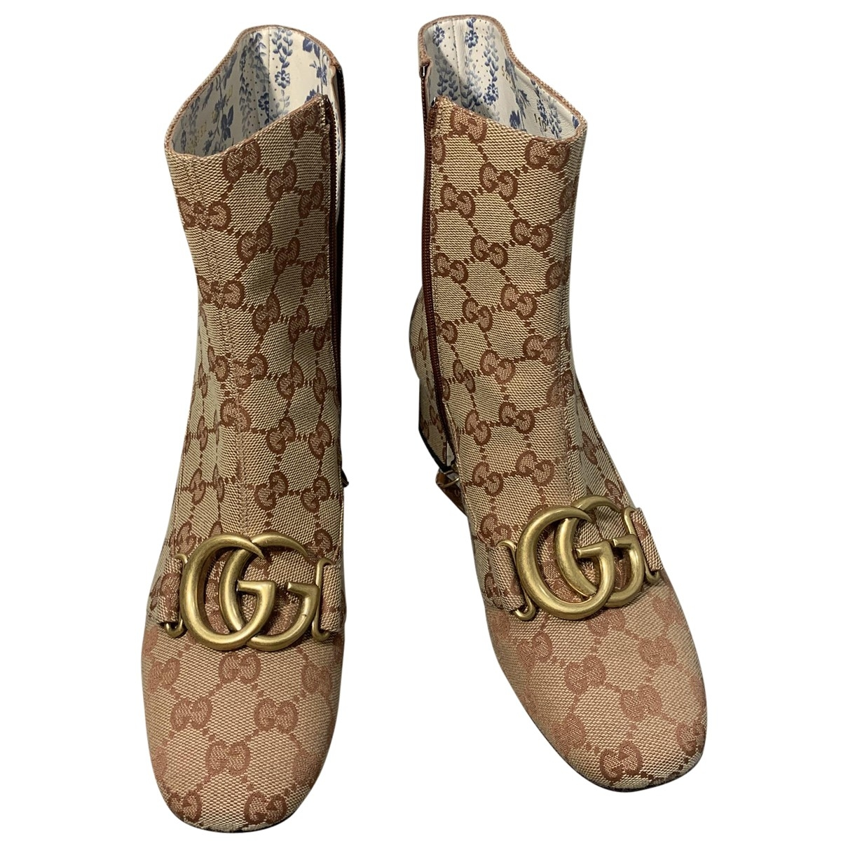 Gucci Marmont Camel Cloth Ankle boots for Women 36 EU