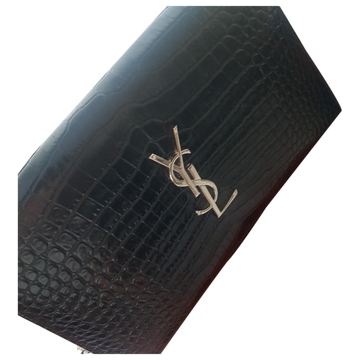 Saint Laurent - Pochette Kate monogramme pour femme en cuir verni - noir