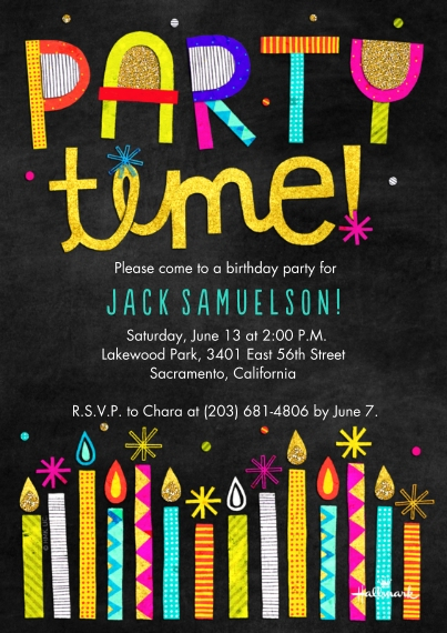 Birthday Party Invites Flat Glossy Photo Paper Cards with Envelopes, 5x7, Card & Stationery -Party Time Glitter Candles