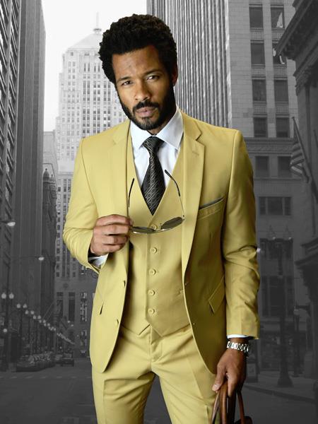 Statement Brand Khaki Slim Fit Vest 3Piece Suit 2Buttons Wool Fabric
