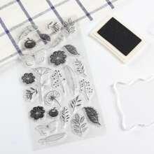 1 hoja sello transparente con patron de flor