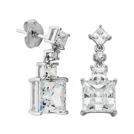 DiamonArt Cubic Zirconia Sterling Silver Square Drop Earrings, One Size , No Color Family