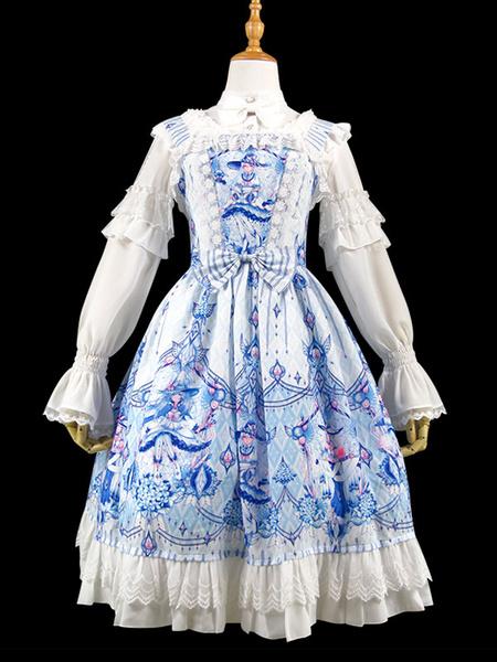 Milanoo Dulce Lolita JSK Vestido Mariposa Bruja Estampado Encaje Ruffle Bow Lolita Jumper Falda